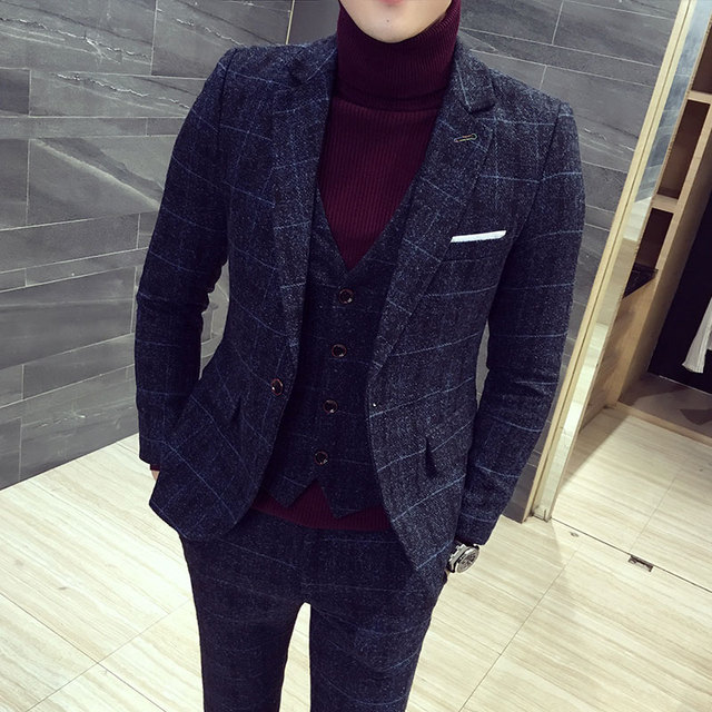 mens three-piece set ( men Blazer jacket + Vest + pant ) Plaid stripes mens suits 2019  Asia size S-5XL High quality  men suits 1