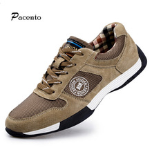 2016PACENTO Leather Casual Shoes Men Black Espadrilles Mens Luxury Brand Shoe Outdoor Waterproof Flats Tenis Masculino