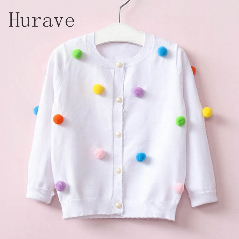 Hurave 2017 girls sweater fashion style kids kintted sweater for girl children clothing