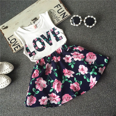 2017-Children-girls-casual-shirt-Love-Tank-top-flower-skirt-clothes-set-summer-fashion-clothing-set-printed-Baby-clothes-suit-2