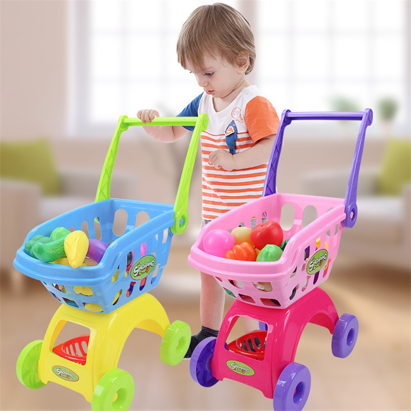 25Pcs/Set Kids Supermarket Shopping Groceries Cart Trolley Toys For Girls Kitchen Play House Simulation Fruits Pretend Baby Toy(China)