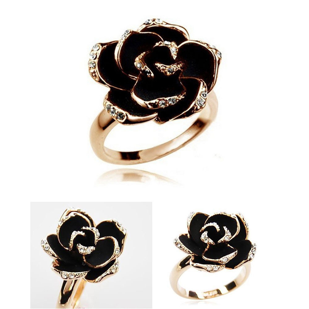 susenstone Women Jewelry Ring for Women Wedding Accessories Ladies Rose Flower Finger Rings Jewelry Accessories Gift