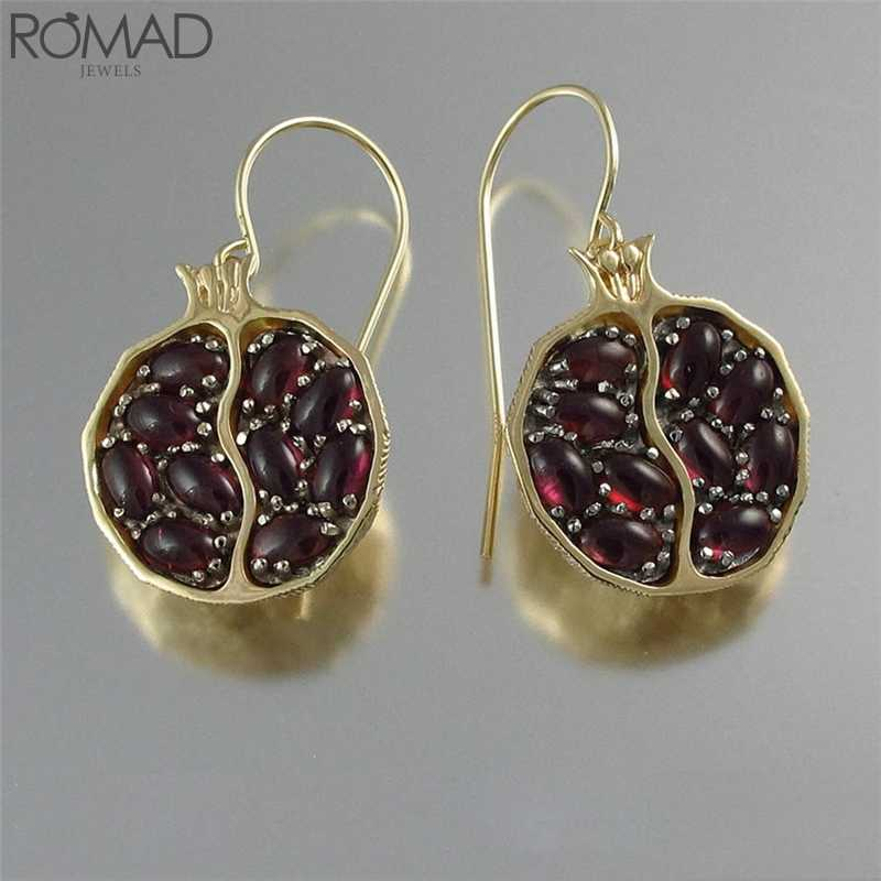 ROMAD Vintage Red Stone แหวนคริสตัลแหวนโกเมนอัญมณี Stonel bague Party ผลไม้ anillo mujeres R5