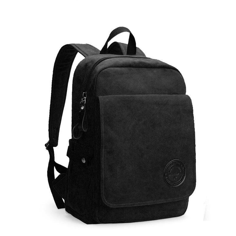 Hommes décontracté Preppy Style plaine sac d'école à la mode Simple toile sac à dos hommes mode solide couleur ordinateur portable voyage sac à dos - 6