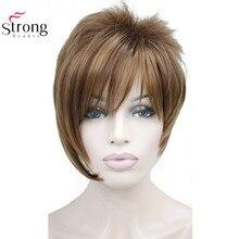 Strong beauty perruque synthétique courte et lisse Auburn avec reflets, perruque à frange inclinée pour filles