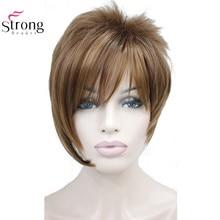 StrongBeauty Peluca de pelo sintético recto corto para niña, mechón ligero con reflejos, flequillo inclinado