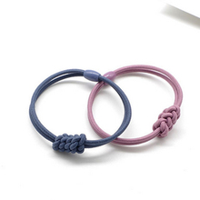 5PCS/Lot Girls Two Strands Handmade Elastic Hair Bands Knot Crude Rubber Band Wheat Bow Rings Beads Women Accessories