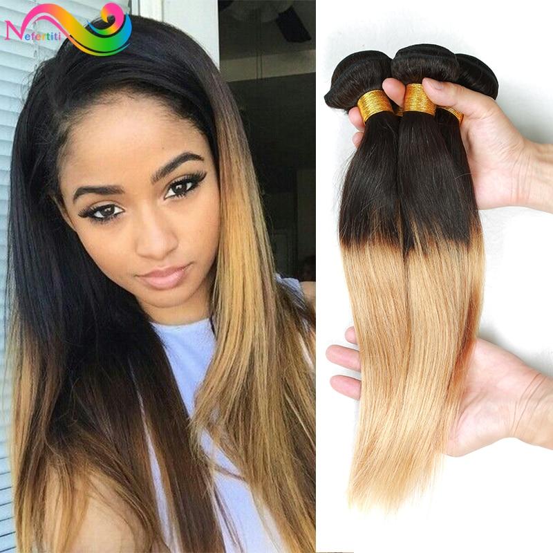 Ombre Brazilian Virgin Hair Straight 3pcs Human Weave 1b 27 Blonde Honey On Aliexpress Alibaba Group
