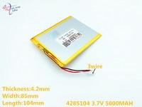 Linha 3 Litro capacidade Da Bateria bateria bateria do Tablet 4285104 Cabo de energia 4085105 3.7 V 5000 MAH bateria de polímero