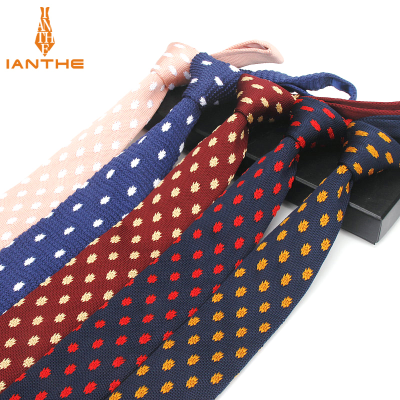 Brand New Fashion Navy Dot Neck Tie Wedding Knitted Ties For Men Skinny Ties Man Gravata Polyester Narrow Knitted Neckties