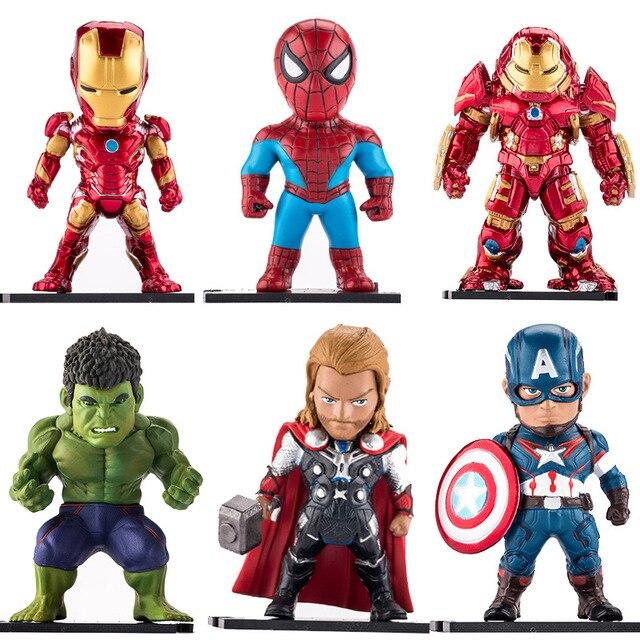 6 pçs/set Marvel Superhero Avengers Homem De Ferro Hulk Capitão América Superman Batman Figuras de Ação Brinquedos Presentes Para crianças # E
