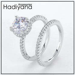 Hadiyana Classic Sparkling Cubic Zirconia Wedding Rings Bridal 2pcs Cute Finger Ring For Woman Love Marriage Dating CP437