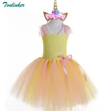 Tonlinker New Girl Princess Party Dresses Kids Rainbow Baby Girls Clothes Unicorn Hair Hoop Formal Tutu Yellow 2018