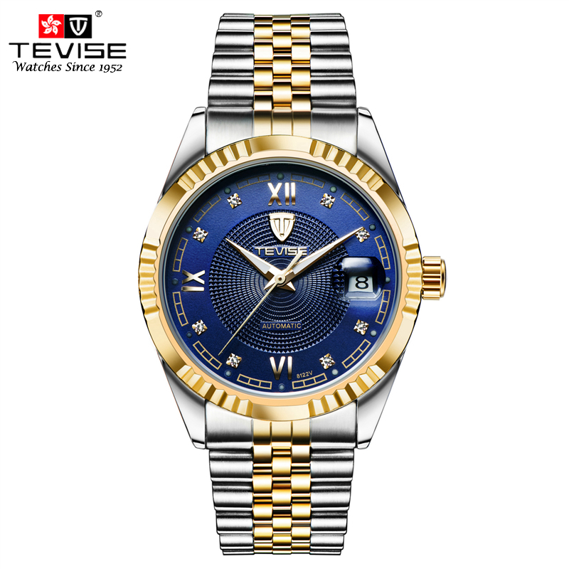 1eb7887c113 Tevise Relógios Men Mecânica Auto Vento Mecânico Automático de Aço  Inoxidável Relógio de Prata de Ouro