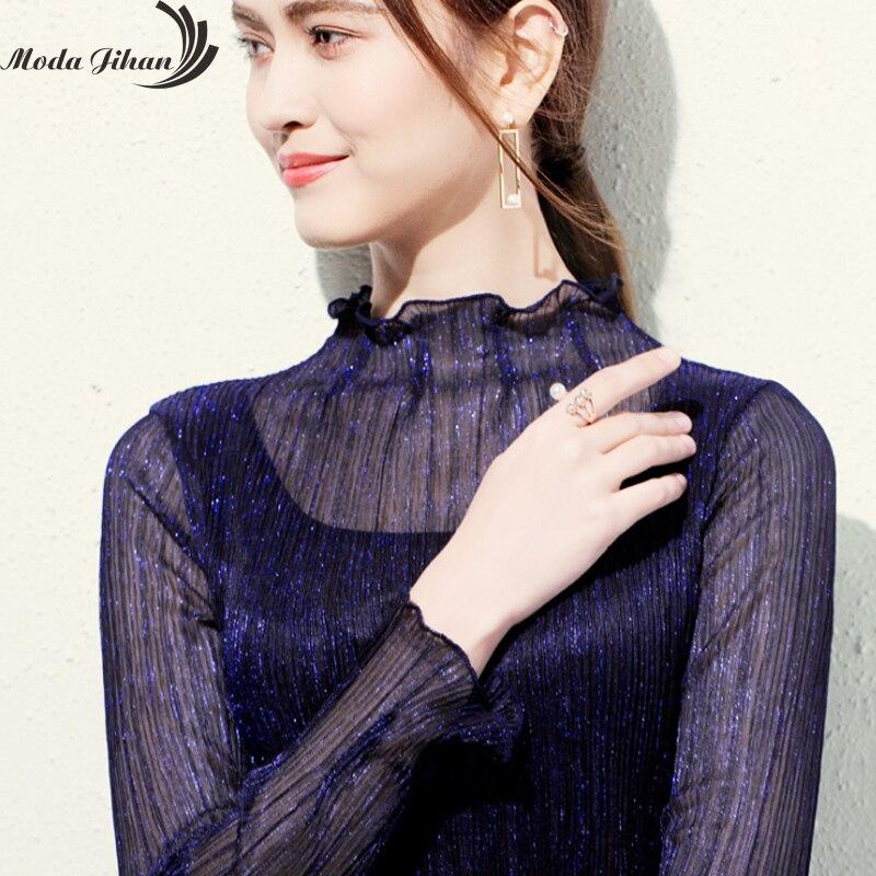 94097965c2b83 Moda Jihan Women T-shirt Shiny Bright Tops Turtleneck Long Sleeve Slim  Female T Shirts