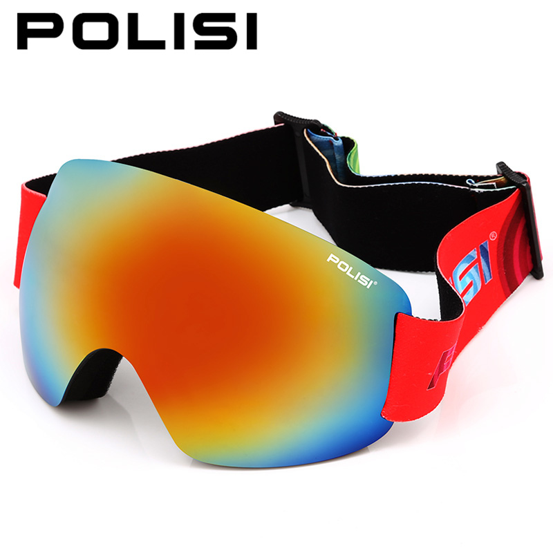 POLISI Professional Ski Glasses Double Layer Lens Snow Goggles UV Protection Anti-Fog Snowboard Skiing Eyewear, Multolour Lens polisi professional snow skiing eyewear ski goggles uv protection double layer anti fog lens winter snowboard glasses blue lens
