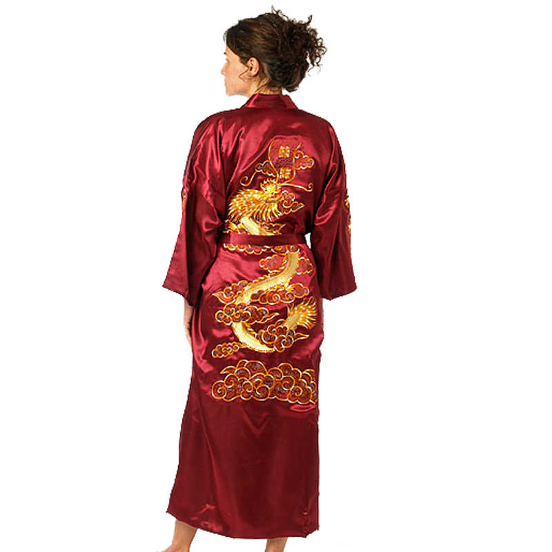 22121ed49 Burgundy Chinese Women's Traditional Embroidery Satin Robe Dragon Kimono  Bath Gown Female Sleepwear Plus Size S