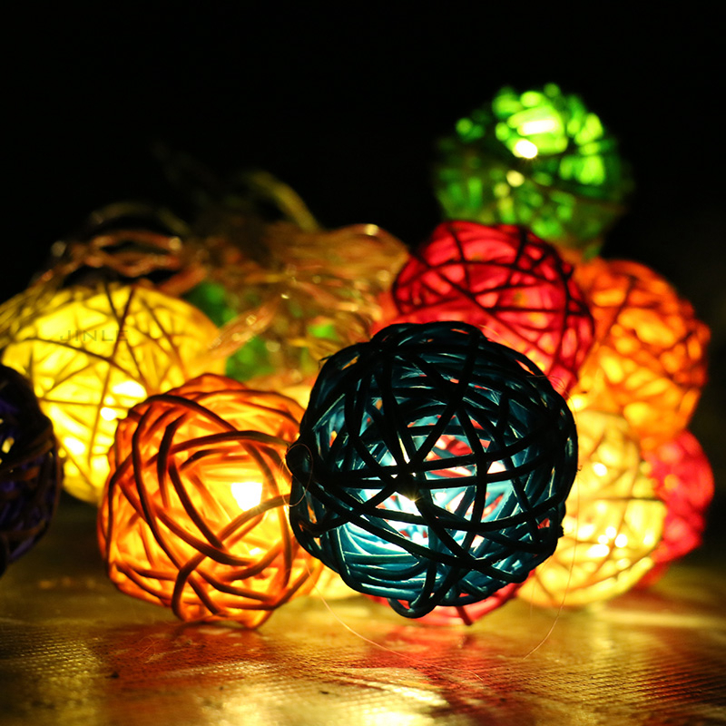 2017 Hot Sale 5m 20l Dia.4cm Lamp Led Solar Rattan Ball String Light Colourful Holiday Christmas Wedding Party Bar Decoration