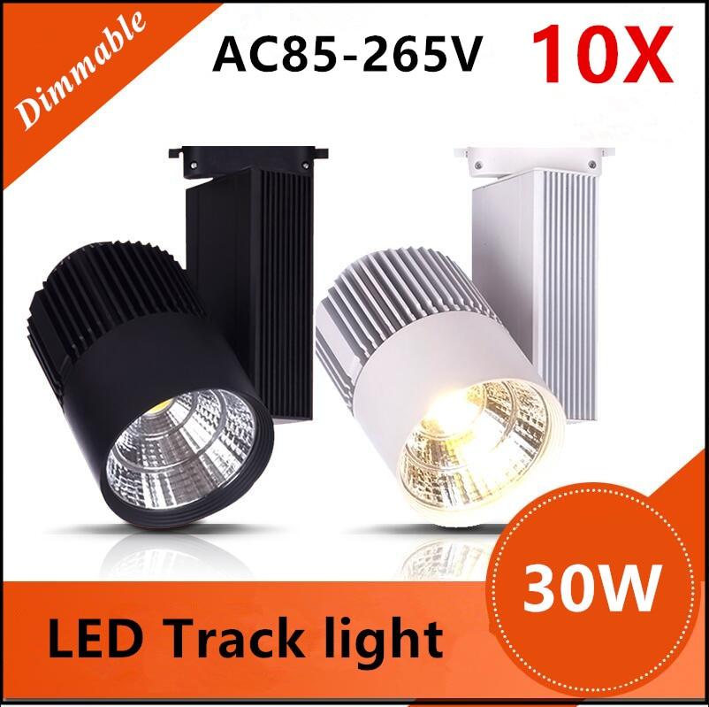 LED Track Light 30W Dimmable COB Rail Light Spotlight Lamp Replace 300W Halogen Lamp 110v 120v 220v 230v 240v Spot Lamp Bulb