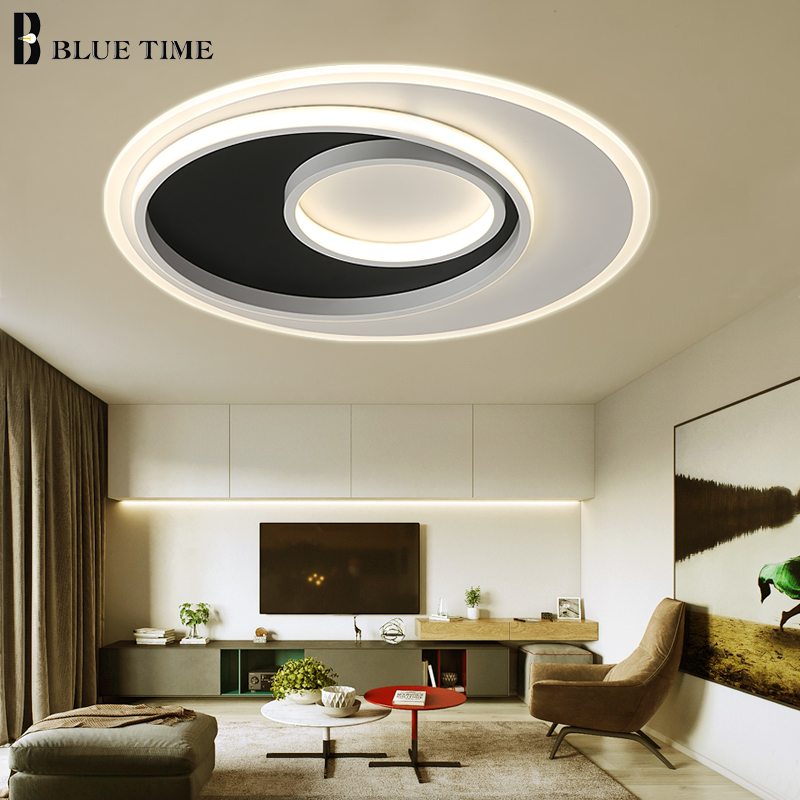 Led Modern Chandeliers For Kitchen Light Fixtures Home: Round Acrylic Led Ceiling Lights Living Room Bedroom