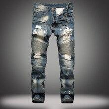 Mens Ripped Biker Jeans 100% Cotton Blue Slim Fit Straight Motorcycle Jeans Men Vintage Distressed Whisker Denim Brand Jeans
