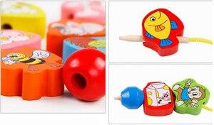 Image 2 - 26個木のおもちゃ赤ちゃんdiyのおもちゃの漫画フルーツ動物糸スレッディング木製のビーズのおもちゃmonterssori子供のための教育gyh