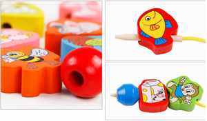 Image 2 - 26Pcs Wooden toys Baby DIY Toy Cartoon Fruit Animal Stringing Threading Wooden beads Toy Monterssori Educational for Kids GYH