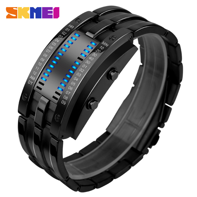 font b SKMEI b font men smart sport watches alloy band casual men s pedometer