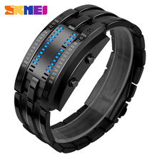 SKMEI men smart sport watches alloy band casual men's pedometer digital watches 30M waterproof wristwatches male clock relogio