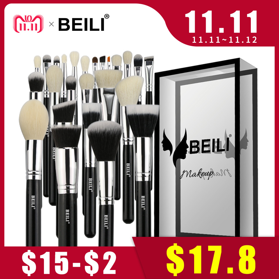 BEILI Black Complete Professional 25pcs Foundation Synthetic hair Powder Contour Goat hair Eye shadow Blending Makeup Brush set beili 12 pieces black premium goat hair synthetic powder foundation blusher eye shadow concealer makeup brush set cosmetic bag