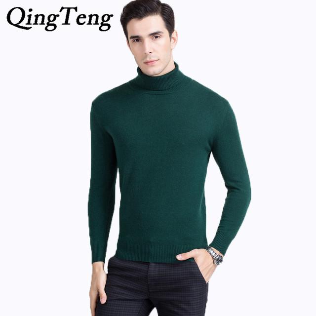 QingTeng Pura Lana de Cuello Alto Hombres Suéter Suéter Hombres suéter Sueter de Lana de Invierno Cálido 100 Mens Suéteres de Cachemira Pura