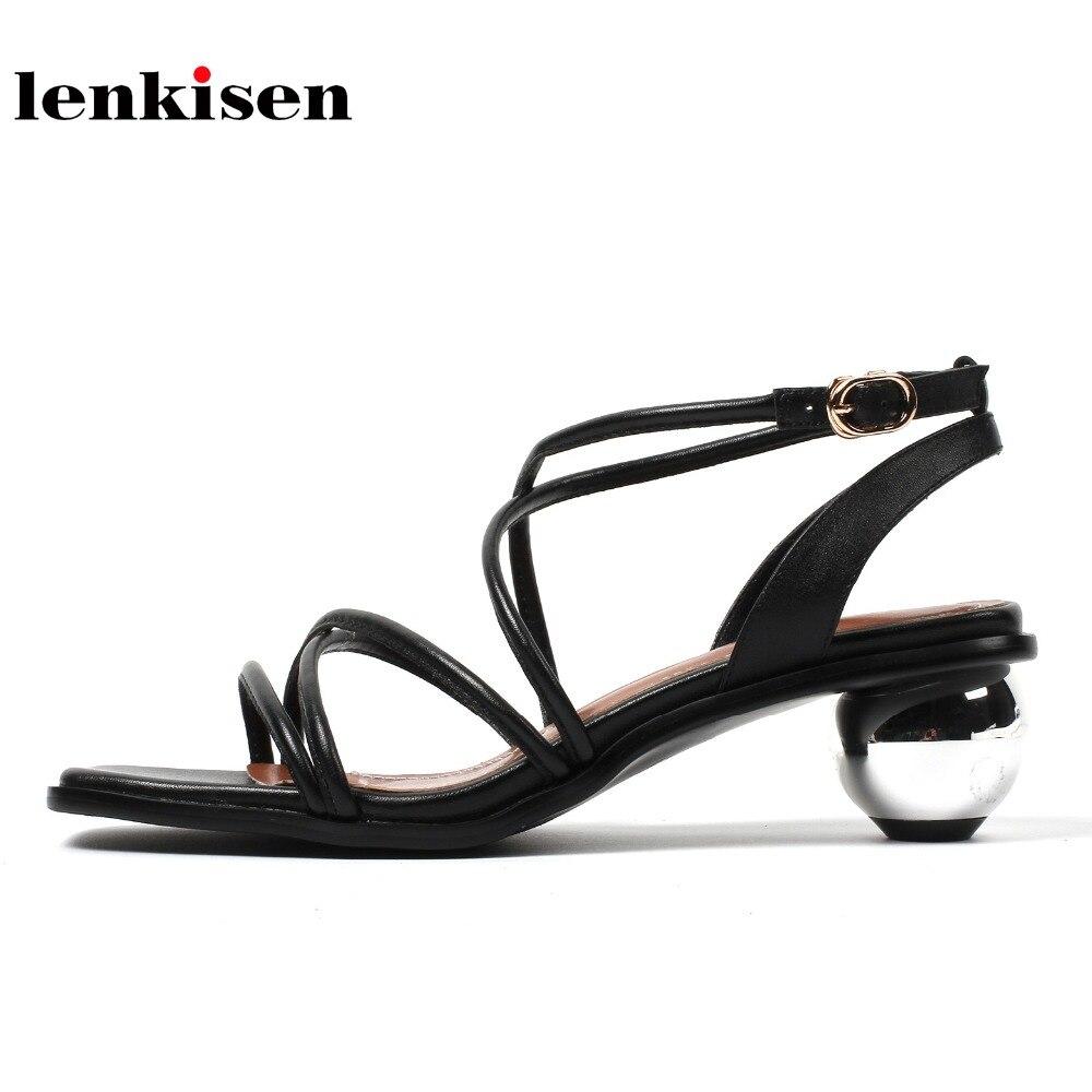 Lenkisen cow leather gladiator causal simple strange novel style buckle straps women sandals peep toe med heels summer shoes L30