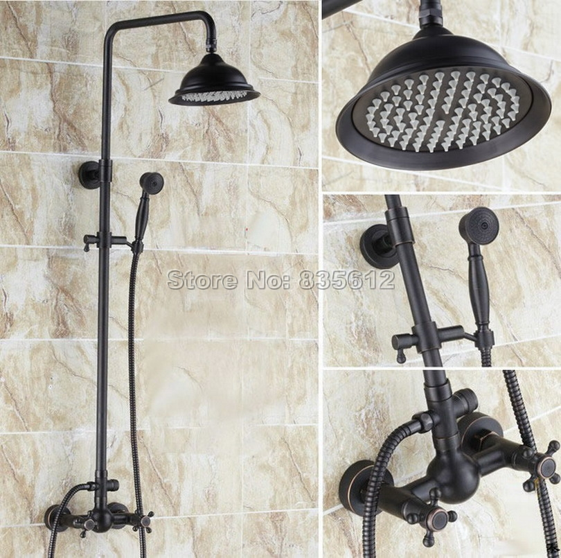 Black Oil Rubbed Bronze Bathroom Dual Handles Rain Shower Faucet Set with Handheld Shower Head / Wall Mounted Mixer Taps Wrs412