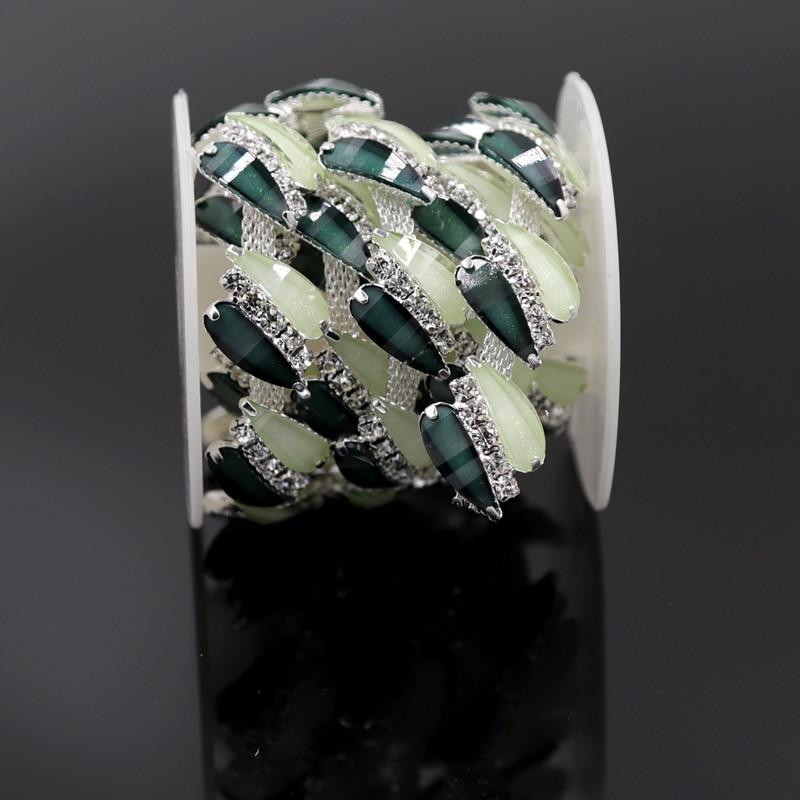 1yard Aquamarine Blue Zircon Crystal Clear Rhinestone Bridal Applique Silver Trim for Women Garment Bags Shoes Accesorries