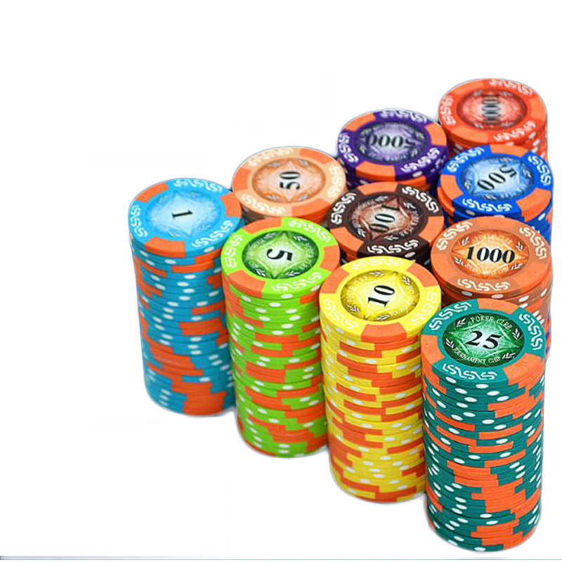 100Pcs/set 11.5g Clay Triple Crown Dice Poker Chips Poker Game Board Game Party Fun Gambling Currency
