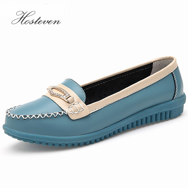 2017 Women's Flats  Women Shoes Loafers Ladies Shoes Slip on Flats Genuine Leather Moccasins Shoes footwear women s platform flats loafers genuine leather slip on brogues shoes for women female footwear brand designer moccasins calzados