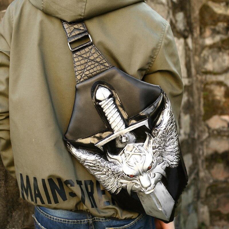 New 3D War Wolf Chest Bag  Leisure Travel Pu  Mens Personality BagNew 3D War Wolf Chest Bag  Leisure Travel Pu  Mens Personality Bag
