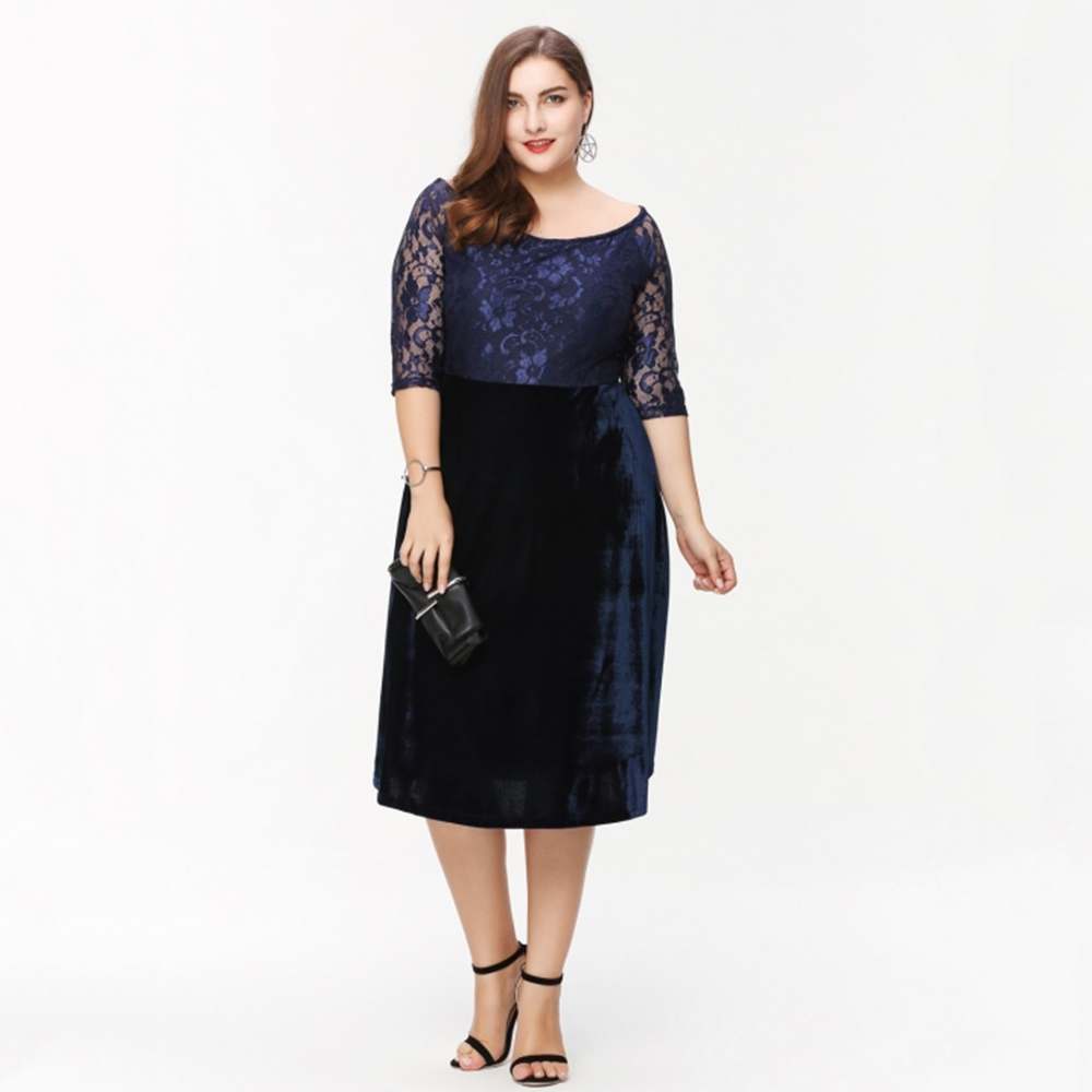 Us 2998 Kissmilk Plus Size Fashion Women Clothing Elegant Lace Patchwork Ladies Dress Bardot Full Big Size Midi Dress 3xl 4xl 5xl 6xl In Dresses