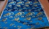 Chinese Traditional Silk Brocade Fabric Lake Blue Back With Light Yellow Big Peony Flowers Pattern