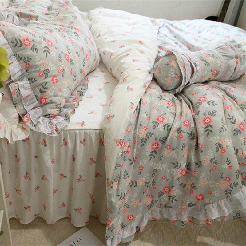 Acheter QAN Nouvelle mode ensemble de literie dentelle à volants housse de couette lit ensemble de draps lit jupe couvre lit literie de couverture de lit princesse coton tissu de sheet set fiable fournisseurs