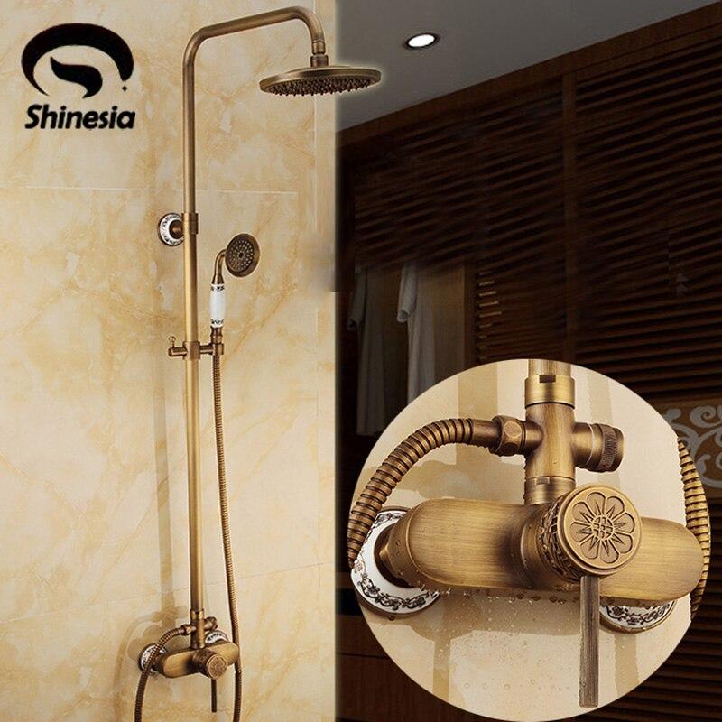 New Wall Mounted Antique Brass Shower Set Faucet 8