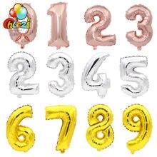 50 sztuk/partia 16 cal balony foliowe w kształcie cyfr różowe złoto srebro cyfrowy urodziny dekoracja na przyjęcie ślubne przybory dla niemowląt hurtownie