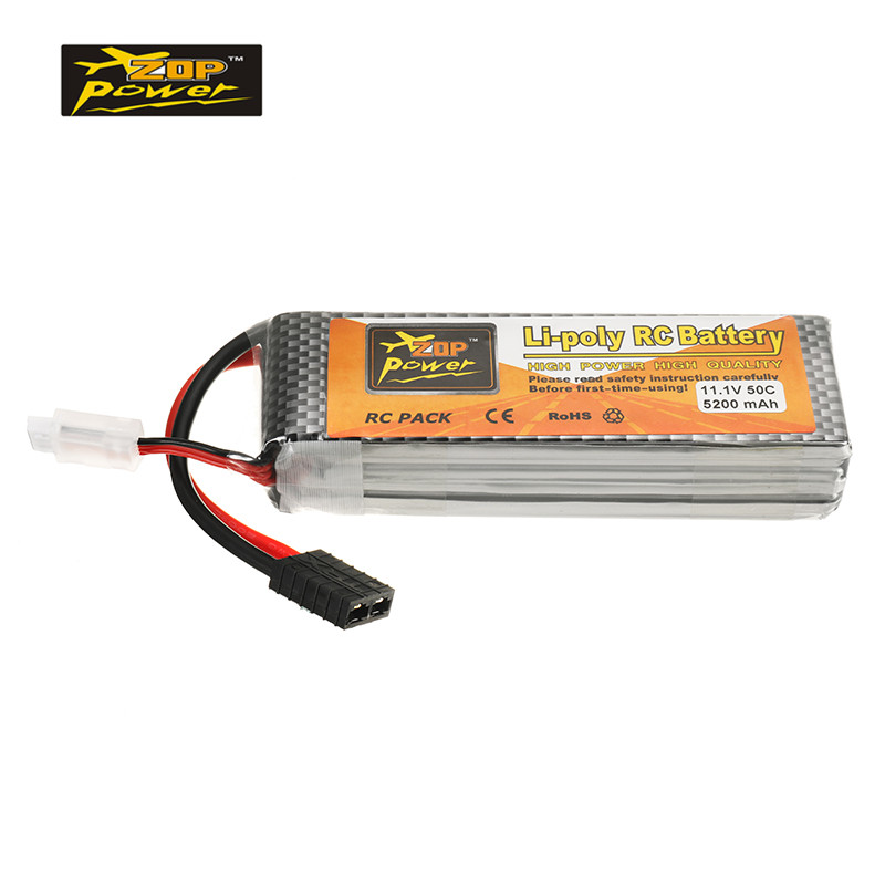 Rechargeable ZOP Power 11.1V 5200mah 50C 3S Lipo Battery With T R X Plug for Wltoys 1/8 RC Helicopter Quadcopter Spare Parts high quality zop power 14 8v 2200mah 4s 45c lipo battery t plug rechargeable lipo battery for rc helicopter part
