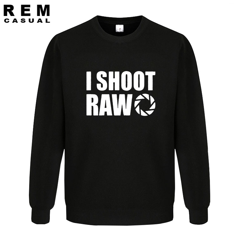 New Style I SHOOT RAW Funny Photographer Gift Long Sleeve Men Casual Hoodies, Sweatshirts