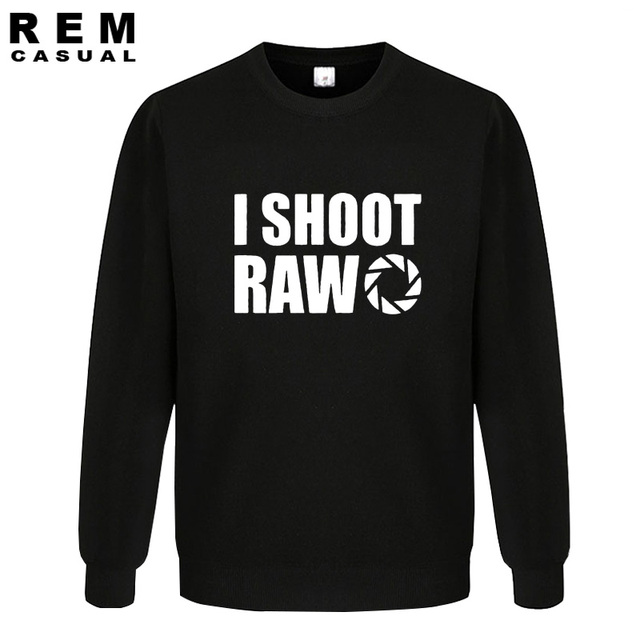 New Style I SHOOT RAW Funny Photographer Gift long sleeve Men Casual Hoodies, Sweatshirts