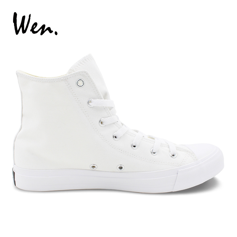 Wen Design White Canvas Hand Painted Shoes Game Legend of Zelda High Top Shoes Men Skateboarding Boy Sneakers Flats Trainers
