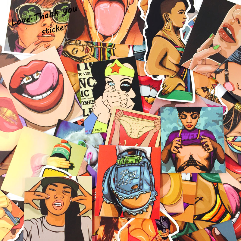 Mixed 25 PCS Sexy  Mouth And Beautiful Girls Stickers For Laptop Skateboard Toys Car Styling Motorcycle Cool Doodle JDM Sticker