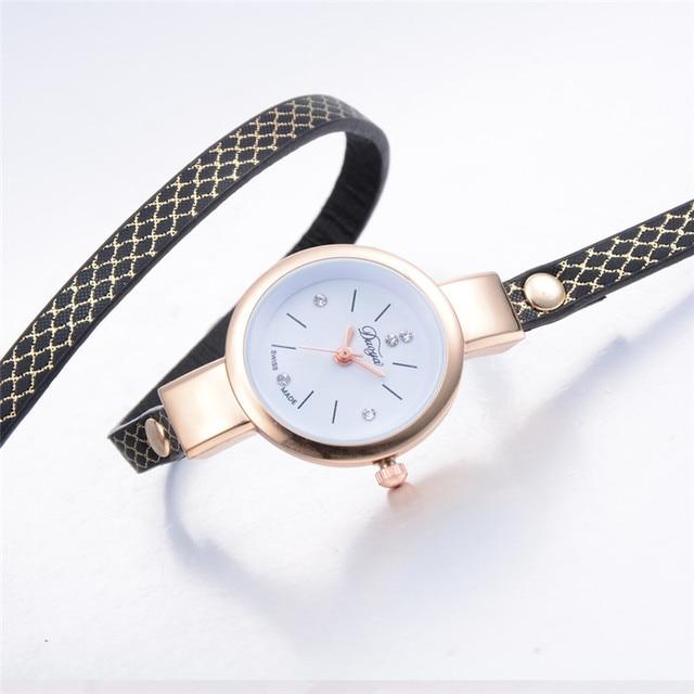 2018 Top Brand Luxury Watches Women Quartz Diamond Circle Leather Bracelet Watch Female Ladies Dress Wristwatch #D