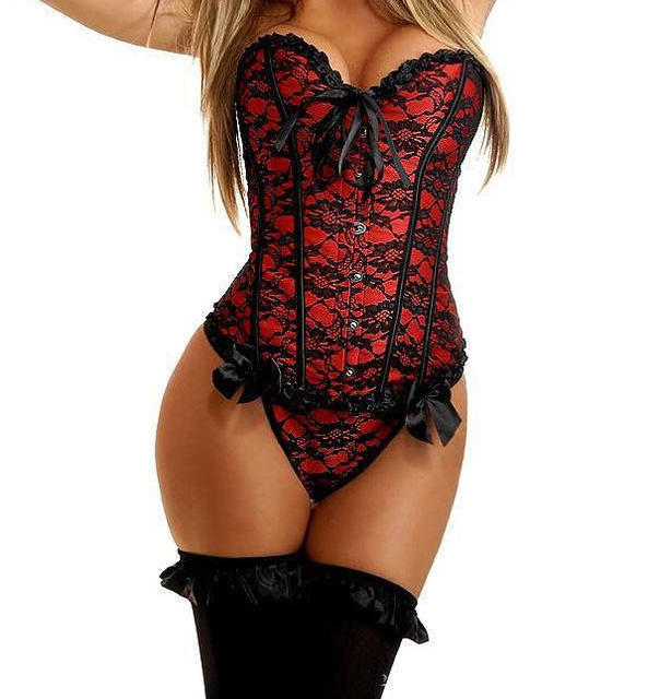 179fd934389 Newest S-6XL Sexy Corsets and Bustiers Women Lace Overbust Corset Hot  Lingerie Lace Up Corset Tops