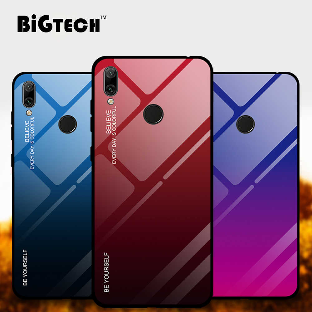 BiGTECH Super Colorful Glass Case for Huawei Y9 Y7 Y5 Y7 Pro Y6 2019 Cover for Huawei Y7 Y6 Y5 Prime 2018 Case Glass Soft Border